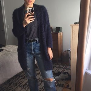 Fuzzy Navy Blue Open Cardigan Sweater